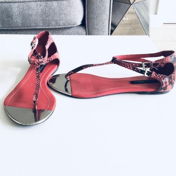 Zara Woman Pink Python Sandals - Mirrored Size 8
